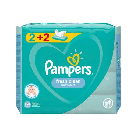 Pampers Fresh Clean Chusteczki nawilżające 4x52szt.