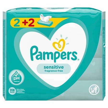 Pampers Sensitive Chusteczki nawilżające 4x52szt.